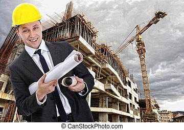 ingenieur, aannemer, met, bouwschets, op, gebouw stek