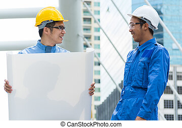 ingenieur, architect, of, discussiëren, twee