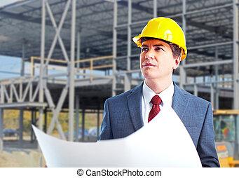 ingenieur, constructor, met, een, project.
