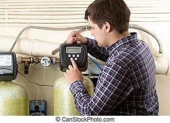 ingenieur, controleren, druk, meters, op, fabriek
