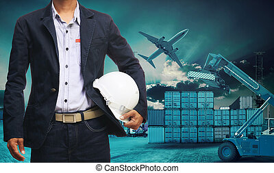 ingenieur, mann stehen, mit, weißes, sicherheitshelm, gegen, schöne , düster, himmelsgewölbe, mit, bauen konstruktion, standort, gebrauch, für, technik, und, baugewerbe, industrie, geschaeftswelt
