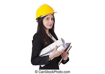 ingenieur, met, bouwsector, plannen