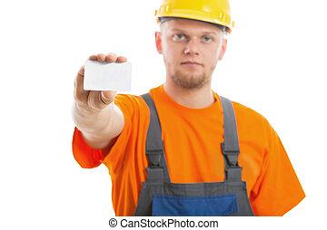 ingenieur, mit, leere visitkarte
