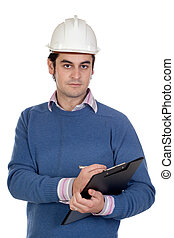 ingenieur, mit, weißes, helm