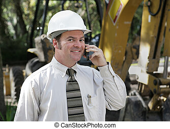 ingenieur, op, bouwterrein