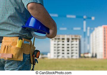 ingenieur, op het werk, op, gebouw stek