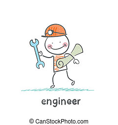 ingenieur, papier, kommt, schlüssel