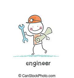 ingenieur, papier, komt, klee