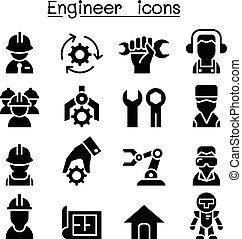 ingenieur, satz, ikone