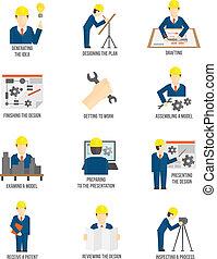 ingenieur, set, iconen