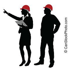ingenieur, und, vorarbeiter, arbeitende
