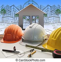 ingenieur, werkende , tafel, met, bouwsector, en, techniek,...