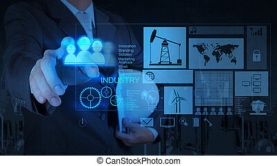 ingenieur, zakenman, doorwerken, moderne technologie, als, concept