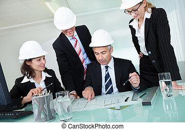 ingenieure, versammlung, oder, architekten, strukturell