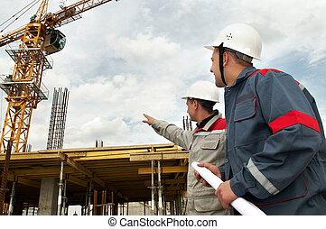 ingenieurs, aannemer, op, gebouw stek