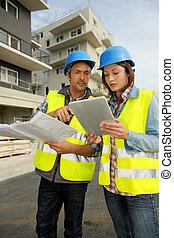 ingenieurs, doorwerken, gebouw stek