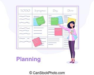ingenio, mujer, concepto, tablero de anuncios, planificación