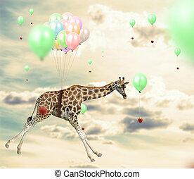 Ingenious giraffe reaching an apple flying using balloons -...
