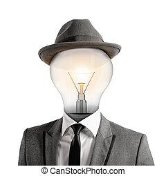 Ingenious head - Man with a light bulb as head. Ingenious...
