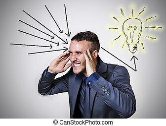 ingenious mind with light bulb and black arrows