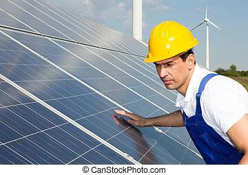 ingenjör, eller, installerare, kontroll, paneler för solar...