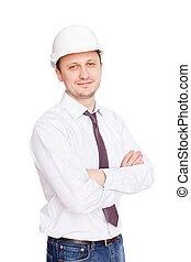 ingenjör, med, vit, hård hatt, stående, säkert, isolerat,...