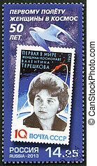 ingenjör, vladimirovna, kosmonaut, visar, stämpel, valentina...