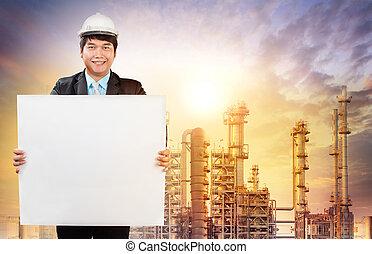 ingenjörsvetenskap, man, med, vit, tom, vit, bred, stående, framme av, oljeraffinaderi, industri, egendom, använda, för, industriell, tema