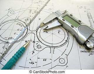 ingenjörsvetenskap, redskapen, på, teknisk, drawing., digital, klämma, linjal, och, mekanisk, pencil.