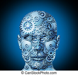 Human ingenuity and business innovation concept with a front view face made of cogs and gears to shape the head as a business symbol of complexity working together to achieve profitable solutions.