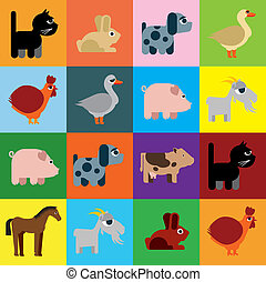 ingenuo, animales, raster, caricatura