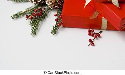 ingepakte, de giften van kerstmis, en, decoraties