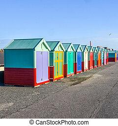 inghilterra, capanne, fronte costa, spiaggia, fila
