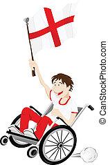 inghilterra, carrozzella, bandiera, ventilatore, sport, sostenitore