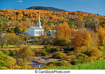 inghilterra, chiesa, nuovo, città, stowe, iconic, autunno
