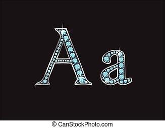 ingioiellato, acquamarina, aa, font