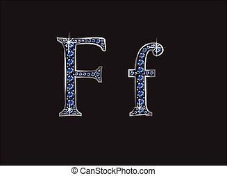 ingioiellato, font, ff, zaffiro