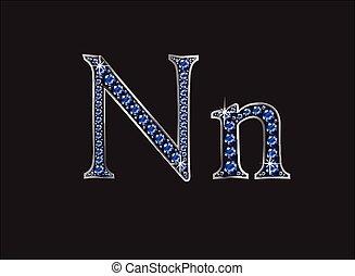 ingioiellato, font, nn, zaffiro
