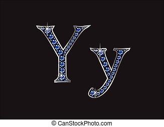 ingioiellato, yy, font, zaffiro