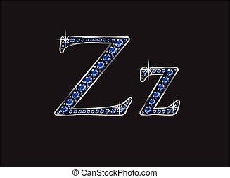 ingioiellato, zaffiro, zz, font