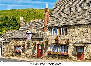 inglés, fila, piedra caliza, cabañas, aldea
