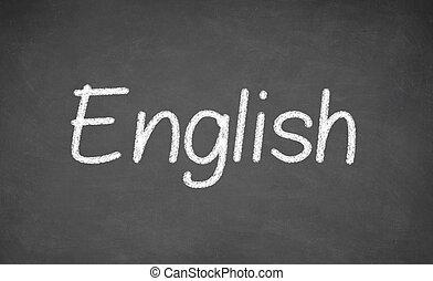 inglés, lección, en, pizarra, o, chalkboard.