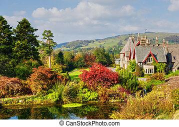 inglés, país, propiedad, en, otoño