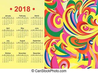 inglês, amarela, vetorial, 2018, ano, calendário