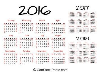 inglês, calendário, 2016-2017-2018