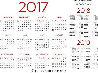 inglês, calendário, 2017-2018-2019, vetorial, vermelho
