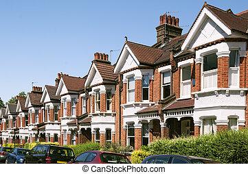 inglês, casas, típico, terraced, london., fila