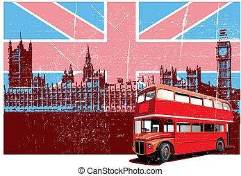 inglês, estilo, cartaz