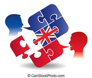 inglês, lição, diálogo