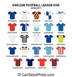 inglês, liga, futebol, jerseys, um